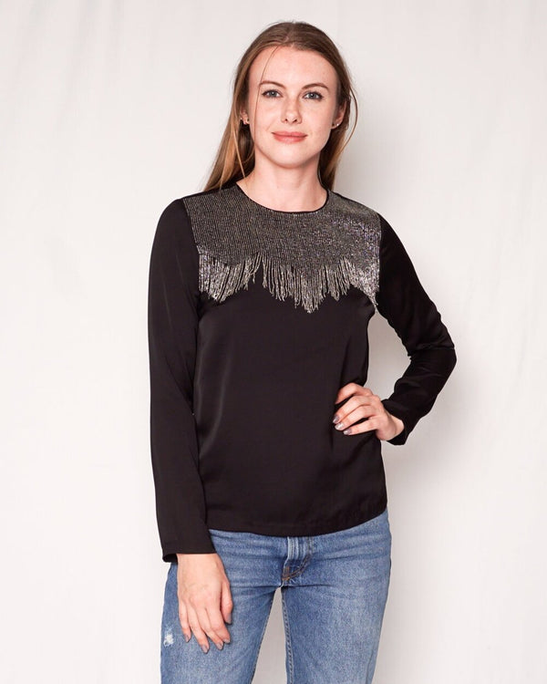 SANDRO Eksy Beaded Embellished Black Top (Size S)