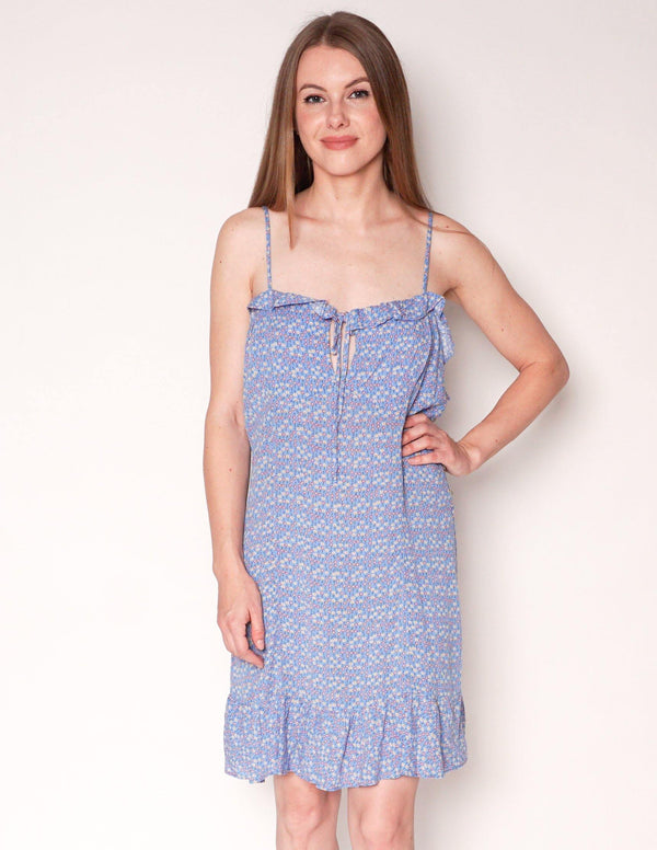 FREE PEOPLE Blue Tiny Floral Print Ruffle Trim Mini Dress - Fashion Without Trashin
