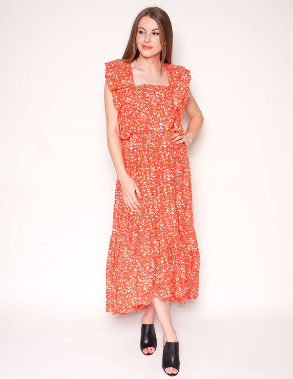 ULLA JOHNSON Coral Batik FREIDA Maxi Ruffle Dress