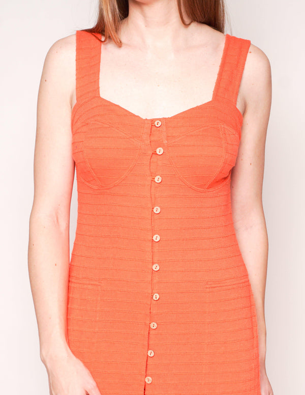 FREE PEOPLE Beach LAFAYETTE Capri Orange Midi Ribbed Dress - Fashion Without Trashin