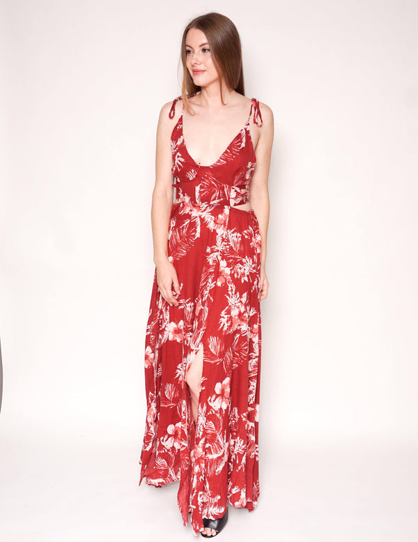 FREE PEOPLE Lillie Red Floral Maxi Slit Halter Dress - Fashion Without Trashin