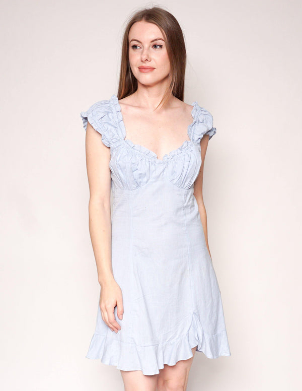 FREE PEOPLE Like A Lady Blue Ruffle Mini Dress - Fashion Without Trashin