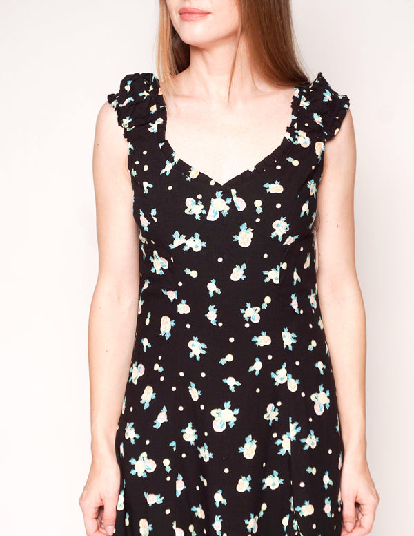 FREE PEOPLE Like A Lady Black Citrus Ruffle Mini Dress - Fashion Without Trashin
