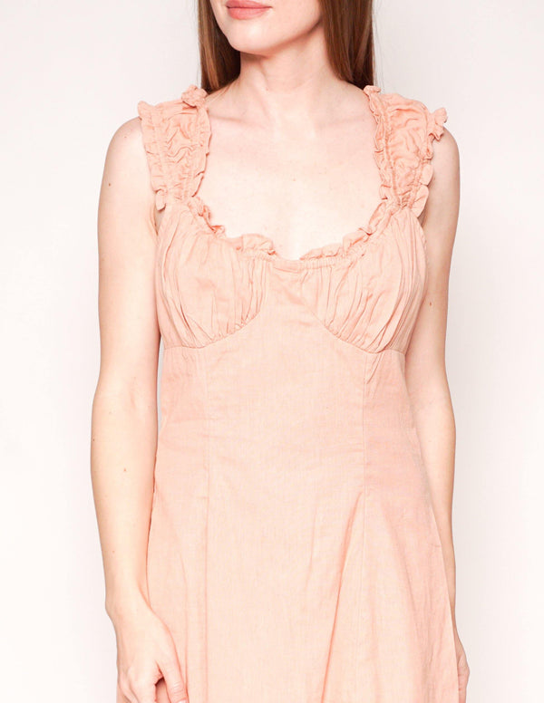 FREE PEOPLE Like A Lady Peach Ruffle Mini Dress - Fashion Without Trashin