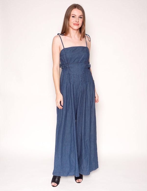 FREE PEOPLE Brittany Denim Wide-Leg Jumpsuit - Fashion Without Trashin