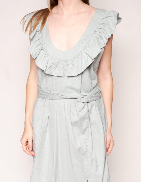 FREE PEOPLE Blue LLARA Ruffle Cross-Back Mini Dress - Fashion Without Trashin