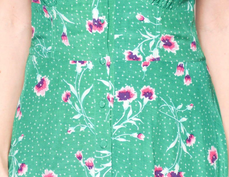 FREE PEOPLE Sleeveless Green Floral Button-Down Mini Dress - Fashion Without Trashin