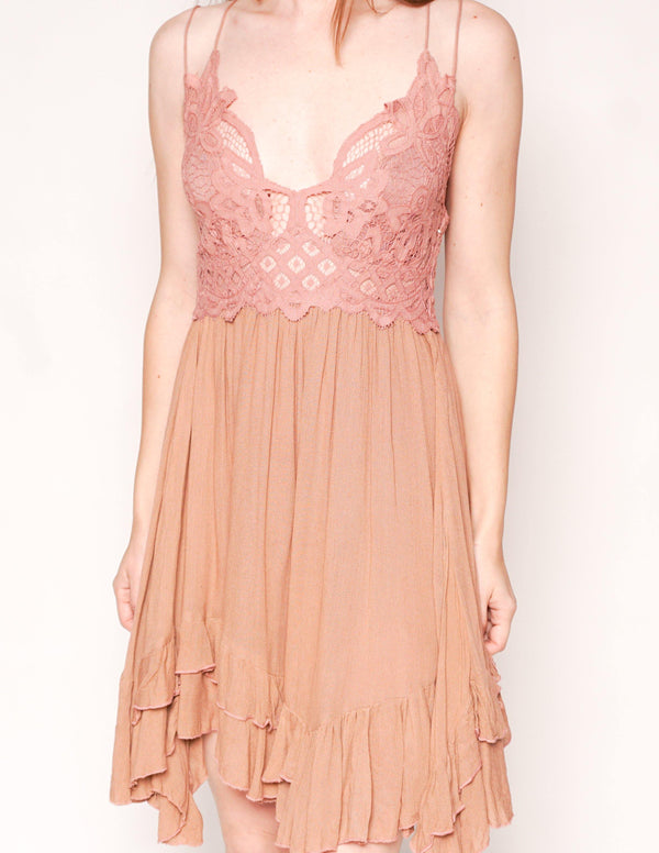 FREE PEOPLE Adella Rose Lace Mini Slip Dress - Fashion Without Trashin