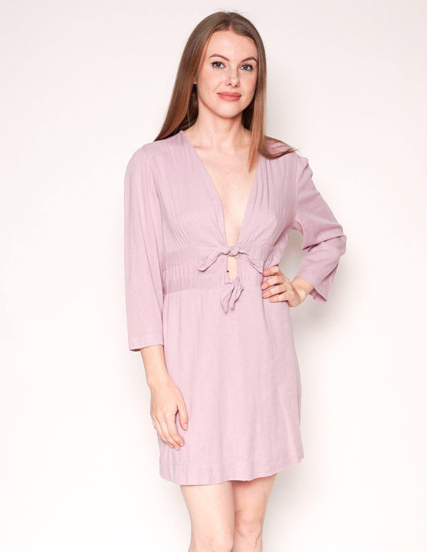 FREE PEOPLE Tied Together Lilac Smocked Back Mini Dress - Fashion Without Trashin