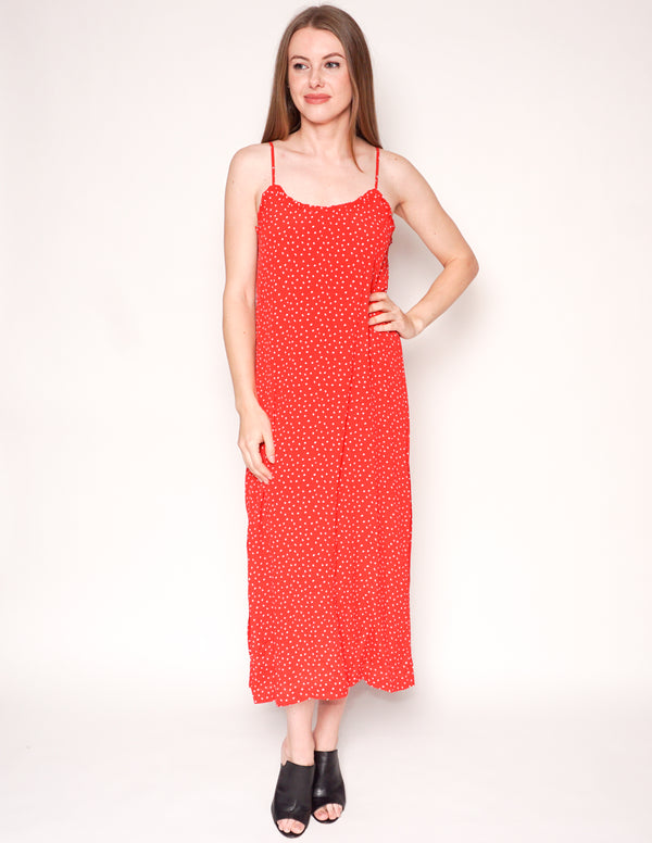 SEEN WORN KEPT x ANTHROPOLOGIE Red Polka Dot Slip Midi Dress