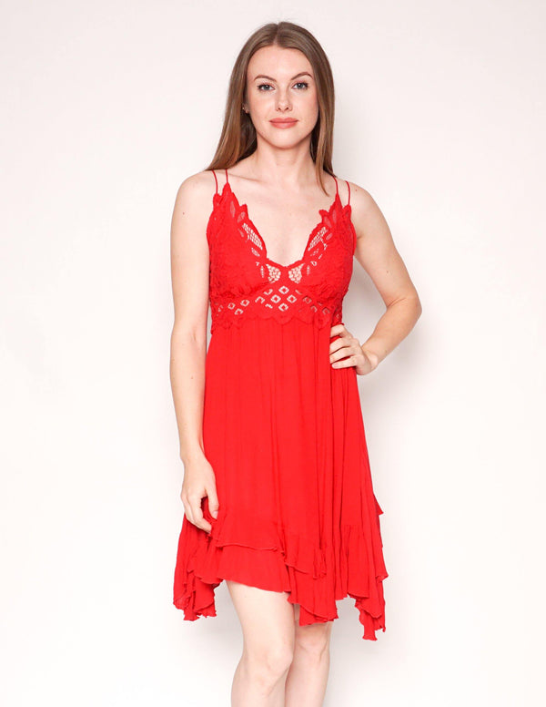 FREE PEOPLE Adella Red Lace Mini Slip Dress - Fashion Without Trashin