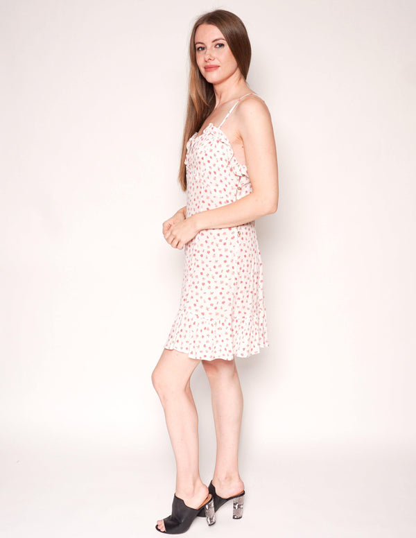 FREE PEOPLE White & Pink Tiny Floral Print Ruffle Trim Mini Dress - Fashion Without Trashin