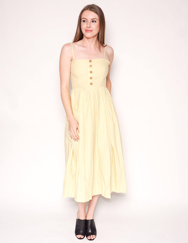 FREE PEOPLE Pale Green LILAH Cotton Pleated Tube Midi Dress - Fashion Without Trashin