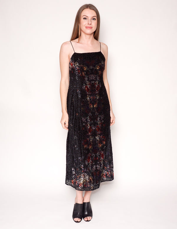 KACHEL x ANTHROPOLOGIE Talia Burnout Velvet Slip Midi Dress