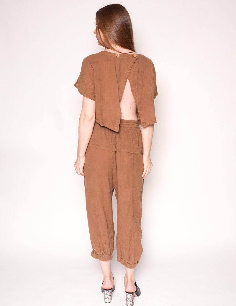 FREE PEOPLE Khaki Open-Back Gauze Jumpsuit - Fashion Without Trashin