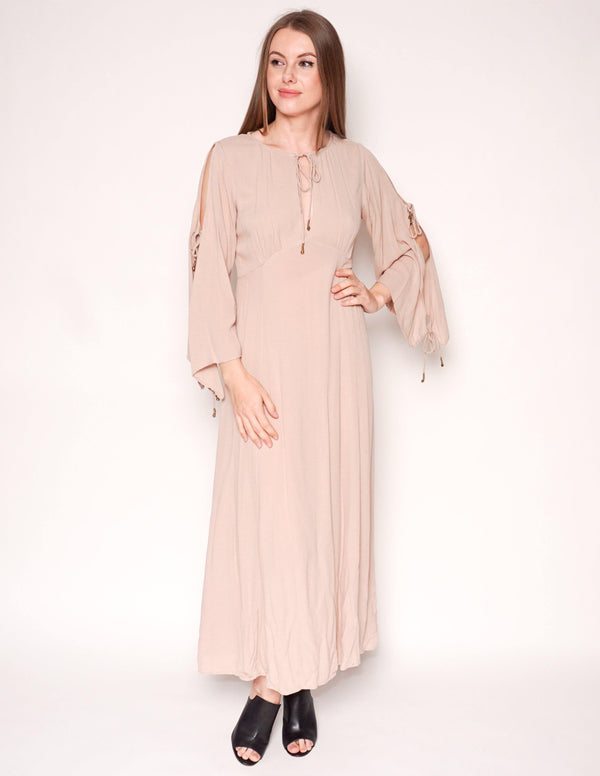 FREE PEOPLE Endless Summer Cold-Shoulder Beige Maxi Dress - Fashion Without Trashin