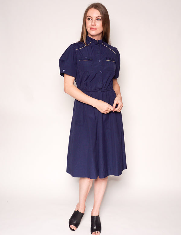 VINTAGE Navy Blue Short-Sleeve Shirtdress