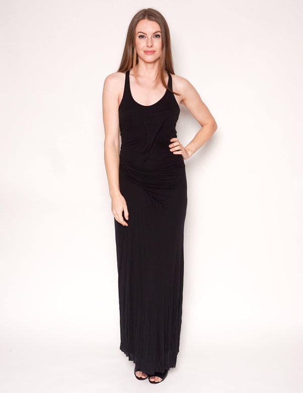 HELMUT LANG Black Slack Jersey Racerback Maxi Dress - Fashion Without Trashin