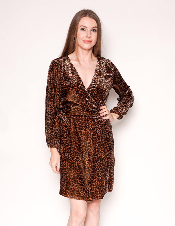 J. CREW Velvet Leopard Print Long-Sleeve Wrap Dress - Fashion Without Trashin