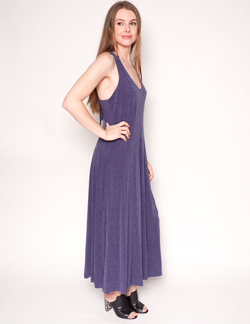 MAEVE x ANTHROPOLOGIE Purple Melanie Lace-Up Back Maxi Tank Dress