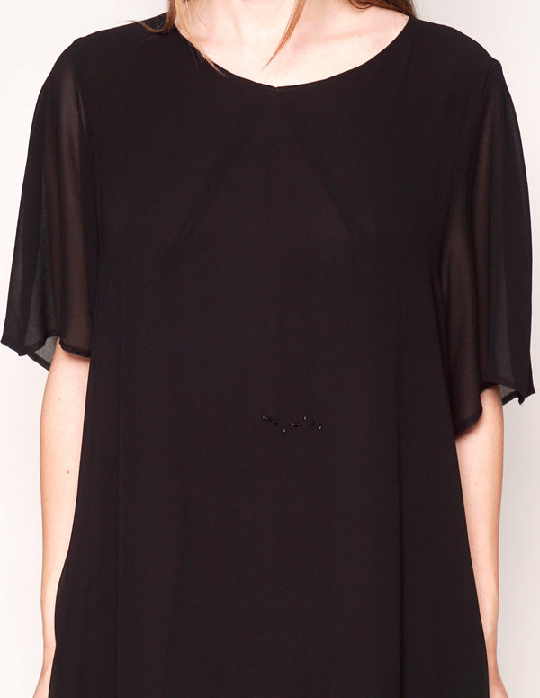 ACNE Short-Sleeve Black Shift Mini Dress - Fashion Without Trashin