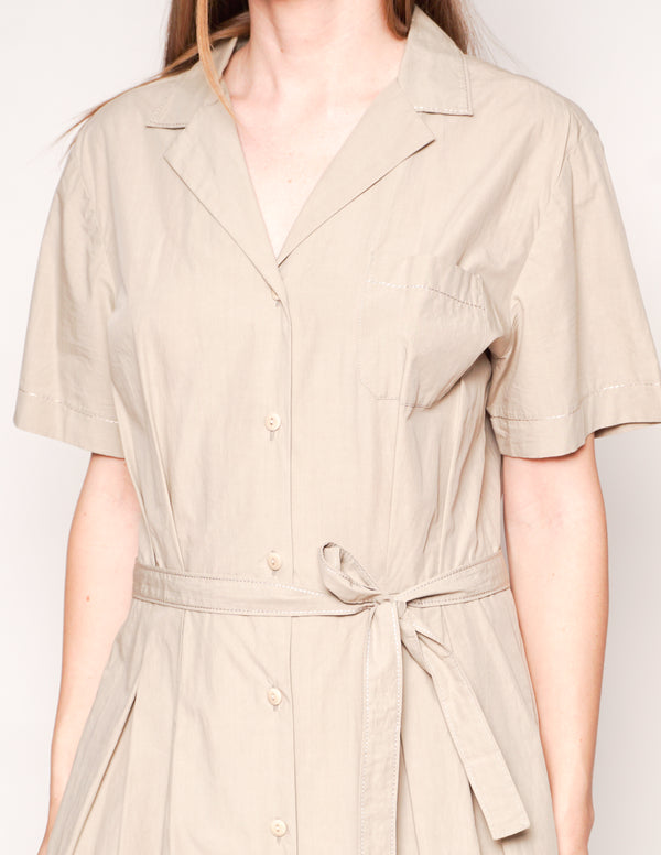 TOMAS MAIER Safari Khaki Cotton Belted Shirtdress