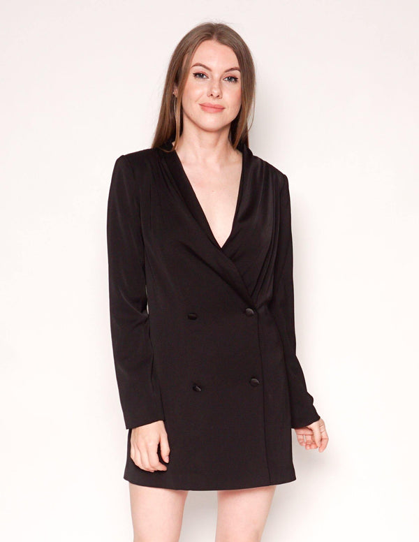 BY THE WAY Black Long-Sleeve Mini Blazer Dress - Fashion Without Trashin
