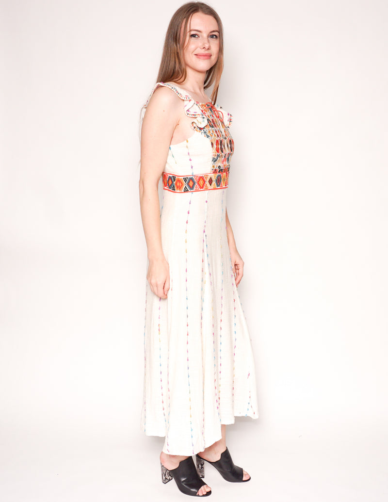 MAEVE Llama Embroidered Ivory Midi Dress