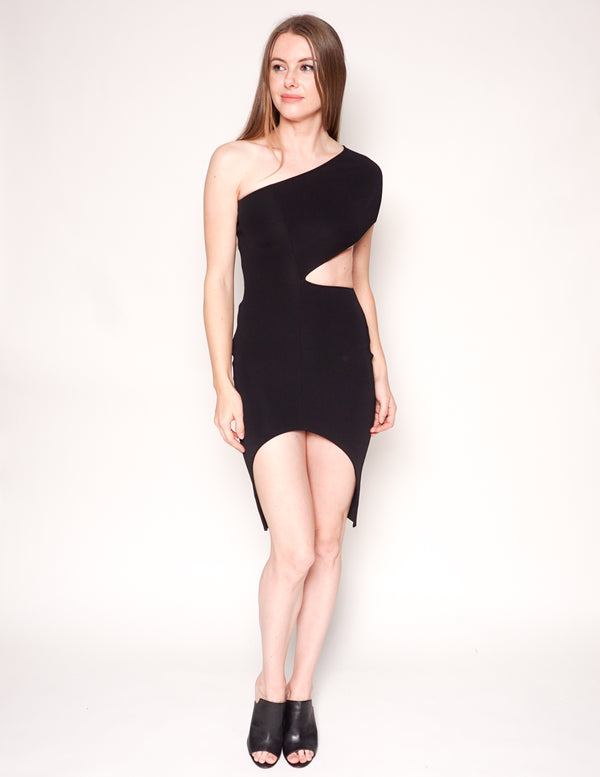 STELLA MCCARTNEY Black Asymmetric Cutout Knit Mini Dress