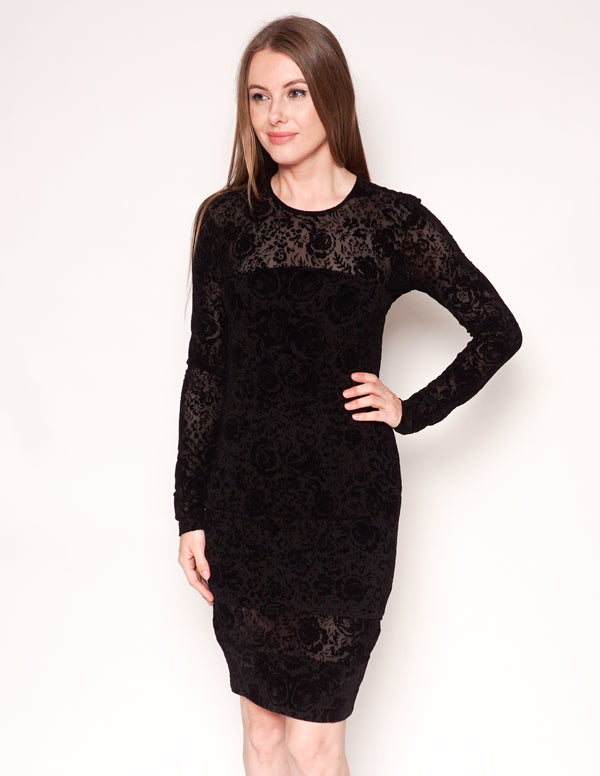 RONNY KOBO Black Floral Velvet Burnout Long-Sleeve Bodycon Dress
