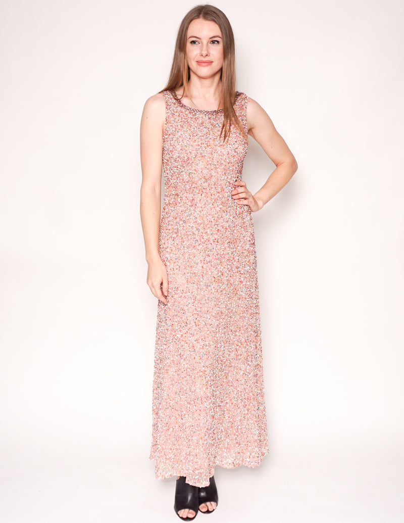 WONDER by JENNY PACKHAM Rainbow Sequin Pink Maxi Gown