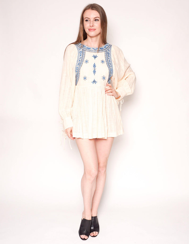 FREE PEOPLE Cream Cotton Embroidered Long-Sleeve Babydoll Mini Dress - Fashion Without Trashin
