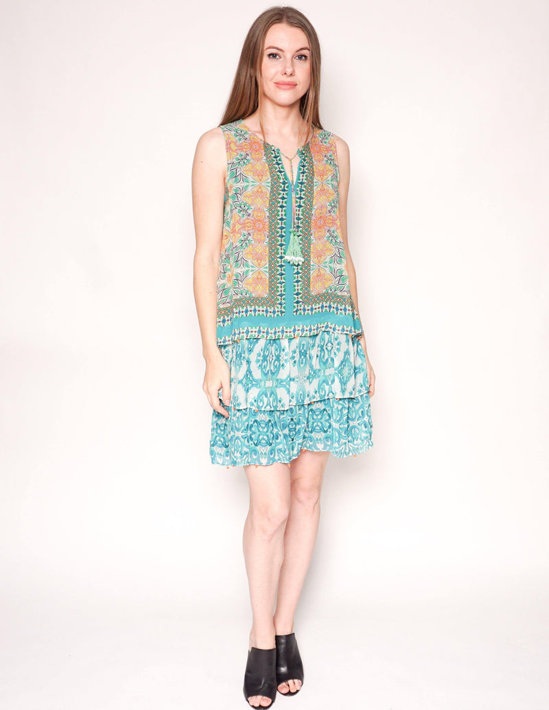 HEMANT & NANDITA Green Silk Sleeveless Mini Dress