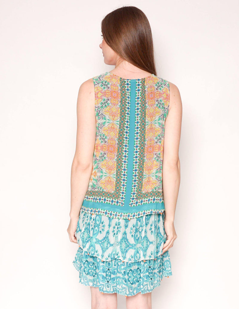 HEMANT & NANDITA Green Silk Sleeveless Mini Dress - Fashion Without Trashin