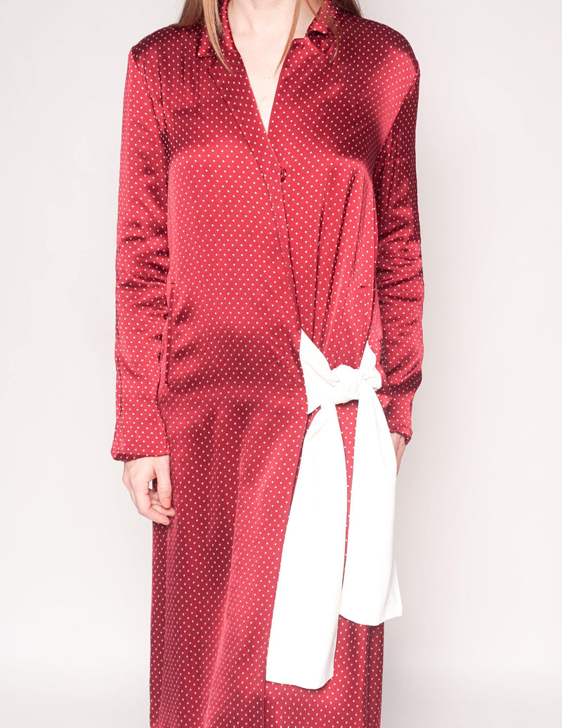THAKOON Polka Dot Red Long-Sleeve Midi Wrap Dress - Fashion Without Trashin