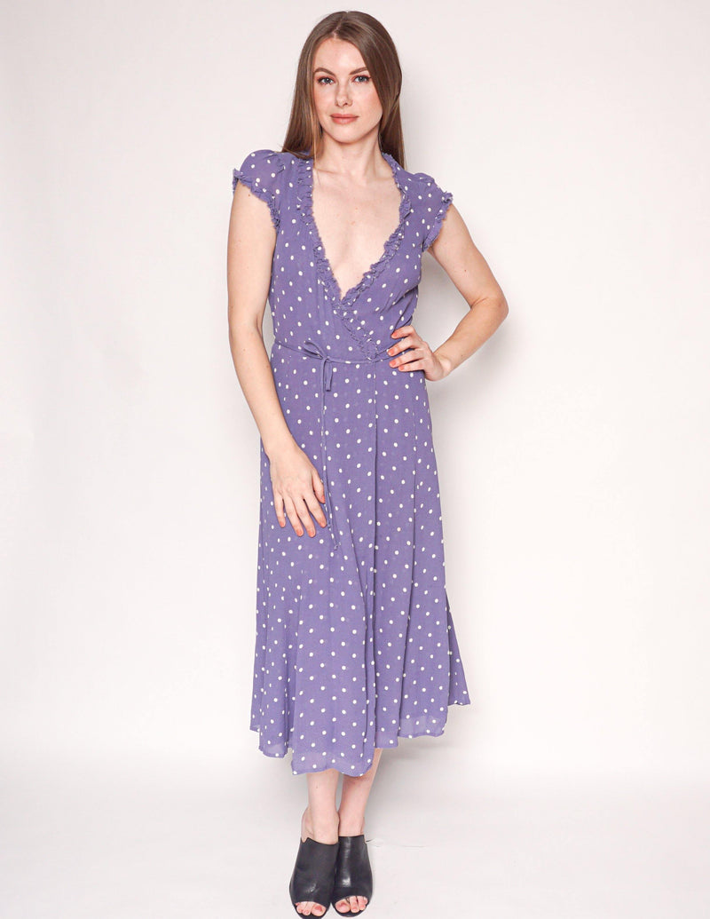 REFORMATION Purple Gwenyth Polka Dot Wrap Midi Dress - Fashion Without Trashin