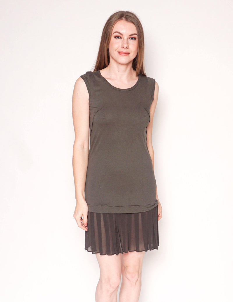 ALL SAINTS Olive Green Sleeveless Dress with Pleated Contrast Hem - Fashion Without Trashin