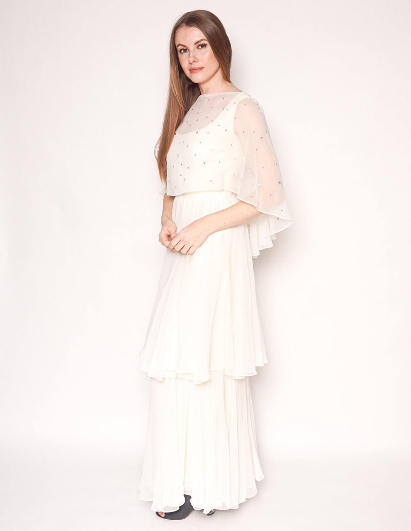 VINTAGE Ivory Sheer Cape Crystal Embellishment Maxi Gown - Fashion Without Trashin