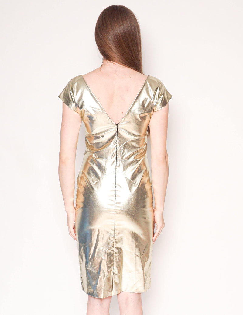 D&G DOLCE & GABBANA Vintage Gold Sheath Dress - Fashion Without Trashin