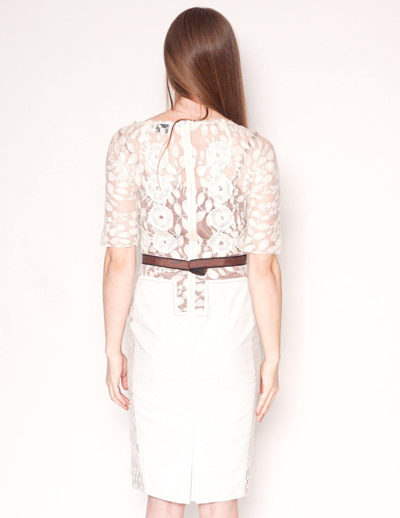 BEGUILE by Byron Lars Carissima Ivory Lace Sheath Dress - Fashion Without Trashin