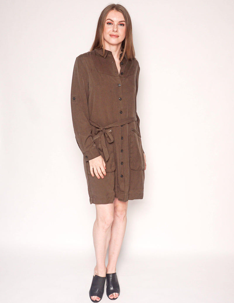 ATM Brown-Green Belted Utility Shirtdress - Fashion Without Trashin