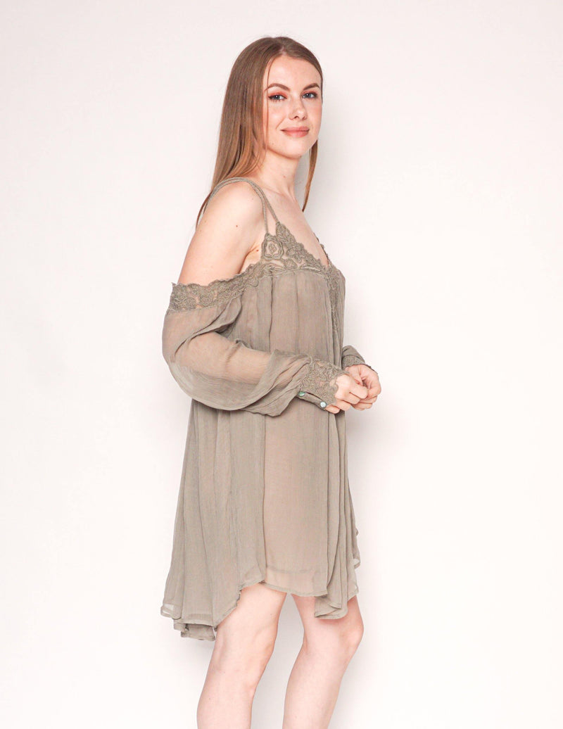 FREE PEOPLE Cold-Shoulder Long-Sleeve Gauze Mini Dress - Fashion Without Trashin