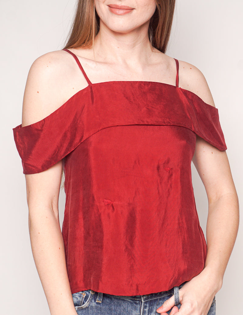 PROPHECY ATELIER  Cold-Shoulder Wine Red Cami Top