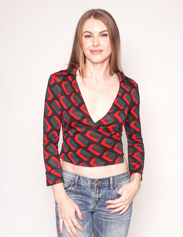DIANE VON FURSTENBERG Vintage Silk Geometric Print Jill Wrap Top - Fashion Without Trashin