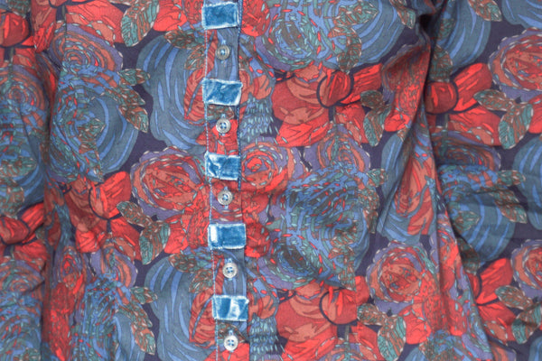 GEORG ROTH Floral Print Button-Down Teal Shirt - Fashion Without Trashin