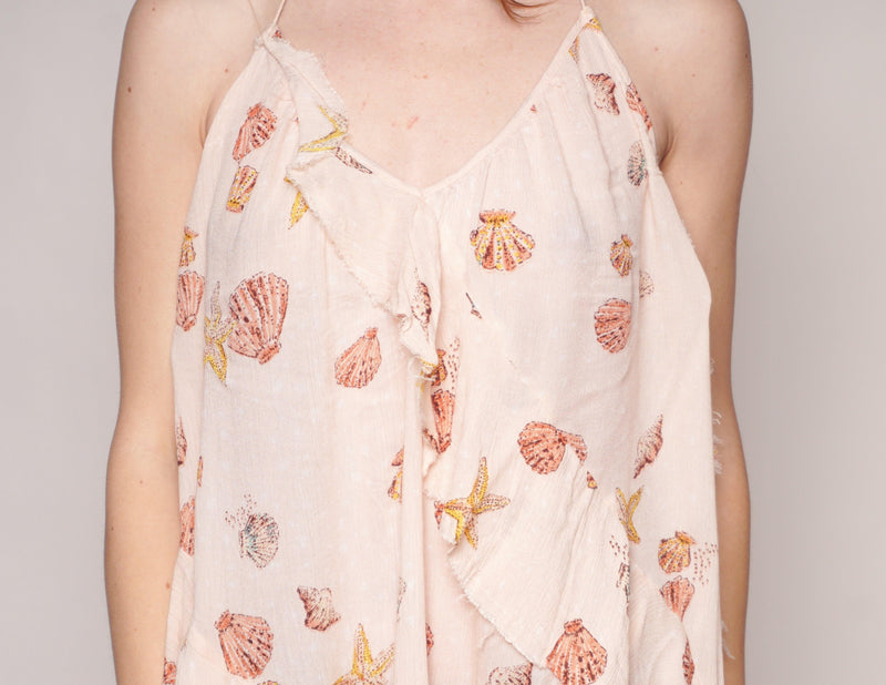 FREE PEOPLE Seashell Print Ruffle Mini Dress / Tunic - Fashion Without Trashin