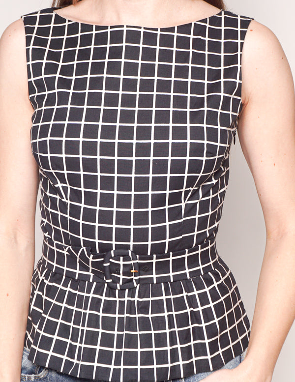 PRADA Windowpane Print Cotton Peplum Belted Top
