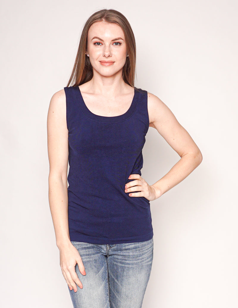 WOLFORD Navy Blue Sleeveless Scoop-Neck Knit Top