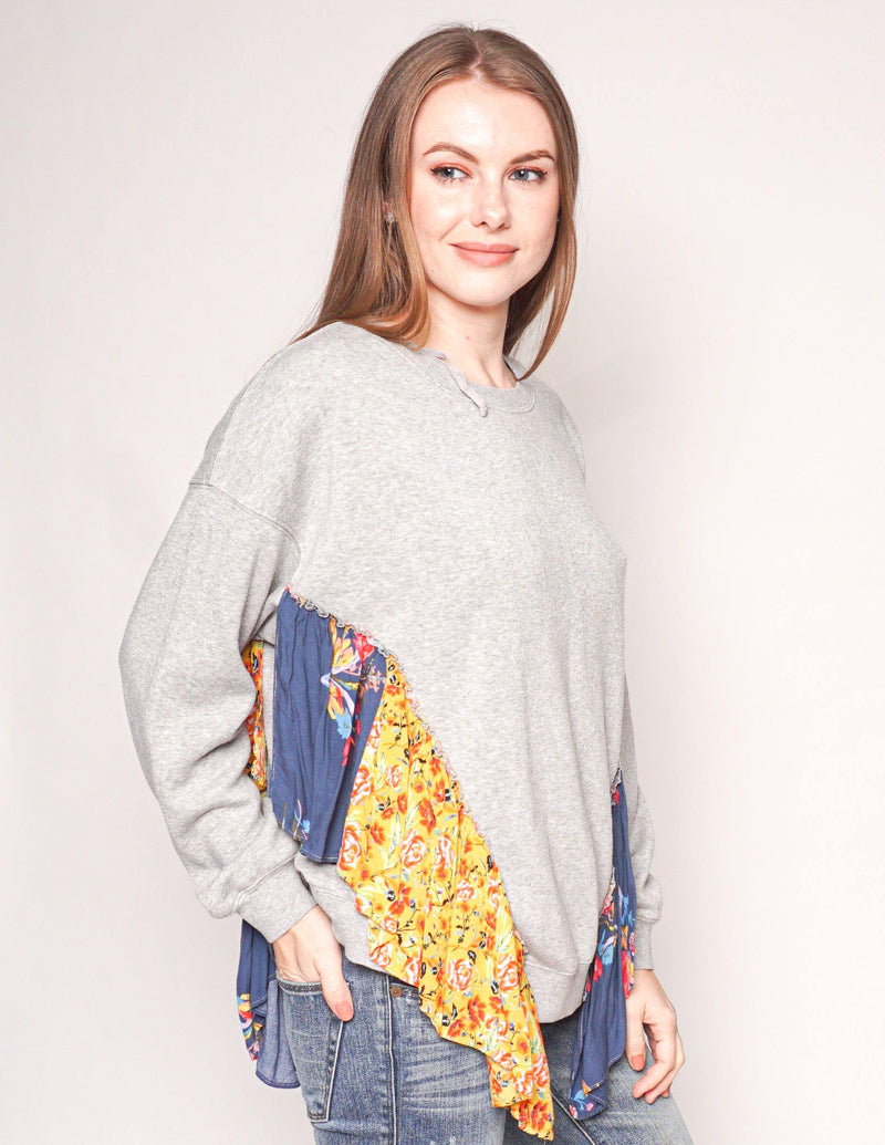 "FREE PEOPLE ""She's Just Cute"" Floral Ruffle Sweatshirt - Fashion Without Trashin"
