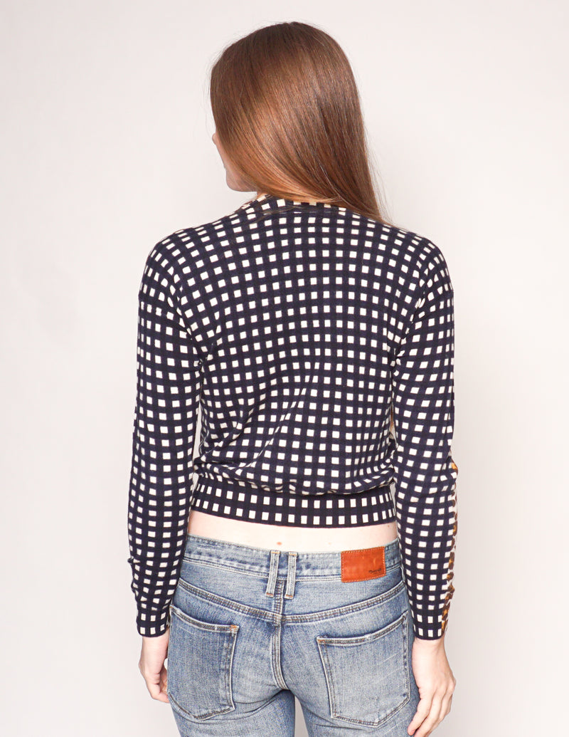 STELLA  MCCARTNEY Cheetah & Check Contrast Sweater